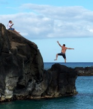We double dog dare you to jump! Turtle Bay, Oahu, Hawaii