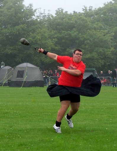 Taking a spin at the Scottish Highland Games.