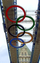 Olympic rings folded beneath Tower Bridge, London, England