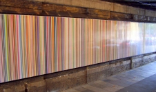 """Poured Lines"" by Ian Davenport, under railway bridge at Southwark Street, London, England"