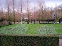 Big Ben and Tower Bridge, hidden in Keukenhof Gardens, Belgium, until warmer weather coaxes the tulips to bloom.
