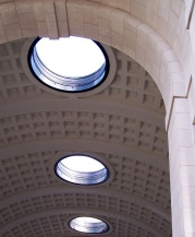 Circles and squares in the ceiling of Menin Gate, Ypres, Belgium