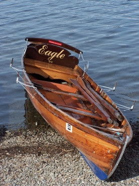 Warm sepia tones of this wooden boat invite a paddle around the lake, near Keswick, England