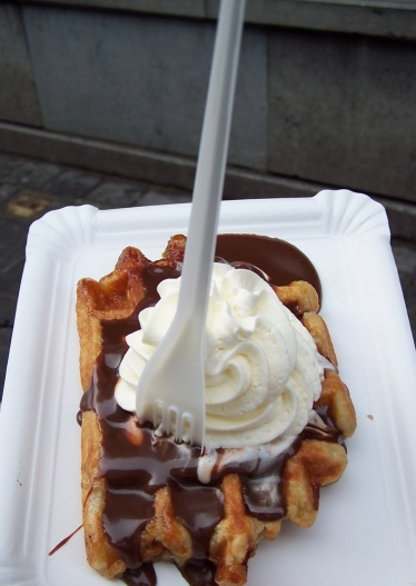 Belgian waffle smothered in Belgian dark chocolate...the smell alone has 300 calories!
