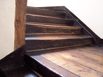 These stairs, also in Broughton Castle, are solid and cupped from thousands upon thousands of footfalls.