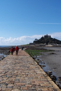 The low-tide walk to the tidal island of St. Michaels Mount, Cornwall, England.