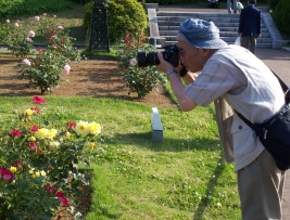 Photo op in the rose garden, Yokohama, Japan