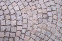 Pink-hued cobblestones, Brugge, Belgium