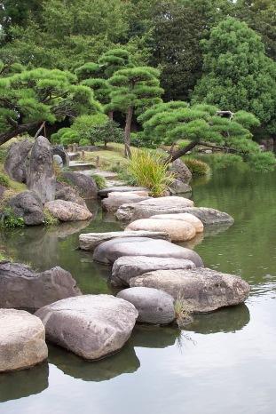 Stone walkway, Kiyosumi Garden, Tokyo, Japan