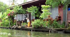 Floating back porch garden along a canal, Bangkok, Thailand