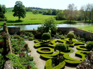 Classically manicured English Garden, Broughton Castle, near Banbury, England